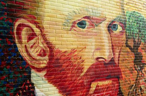 Vince névnap - Vincent van Gogh potré -  utcai falfestmény