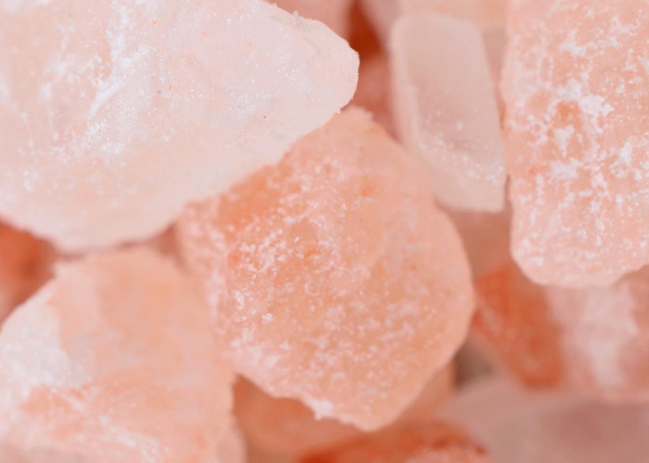 pink salt on table