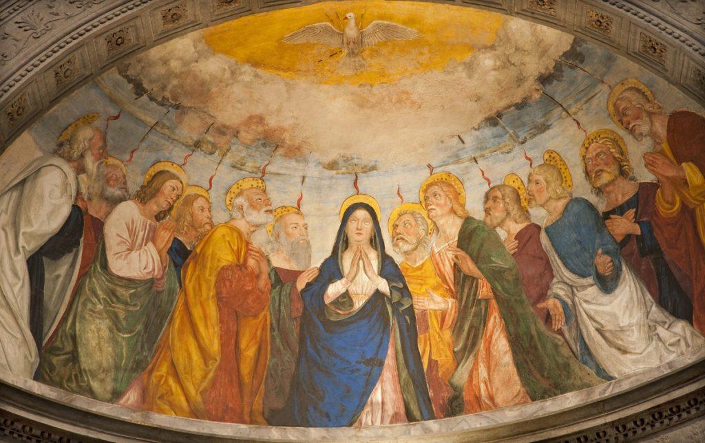 A Szentlélek eljövetelének ábrázolása a veronai Sant'Anastasia templomban.
